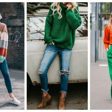 Цветният пуловер и как да го носим: 29 идеи