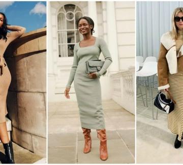21 стайлинг идеи как да носим плетена рокля тази зима