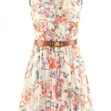 Ежедневна рокля oт шифон с флорални мотиви