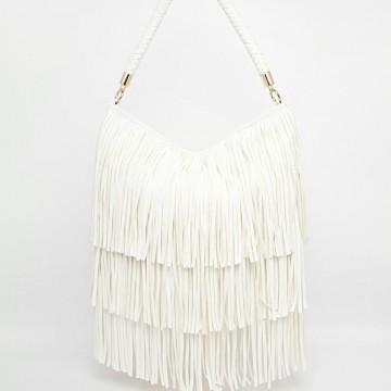 Красива чанта с ресни в бяло