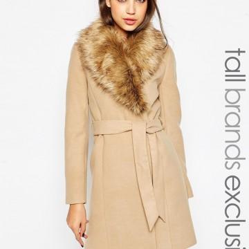 Палто с яка от изкуствена кожа