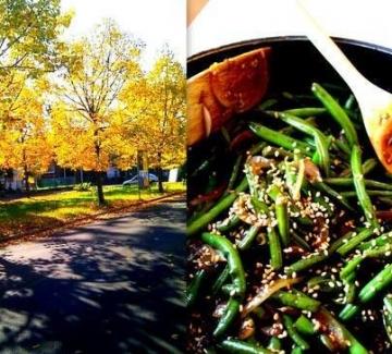 Вълшебен обяд със зелен фасул, гъби и и хрупкав бекон