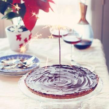 Тарт с карамел и шоколадов ганаш