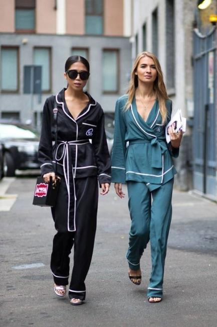 19 стайлинг идеи как да носите копринена пижама през деня