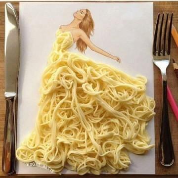 Дизайнерски дрехи от храна върху хартия