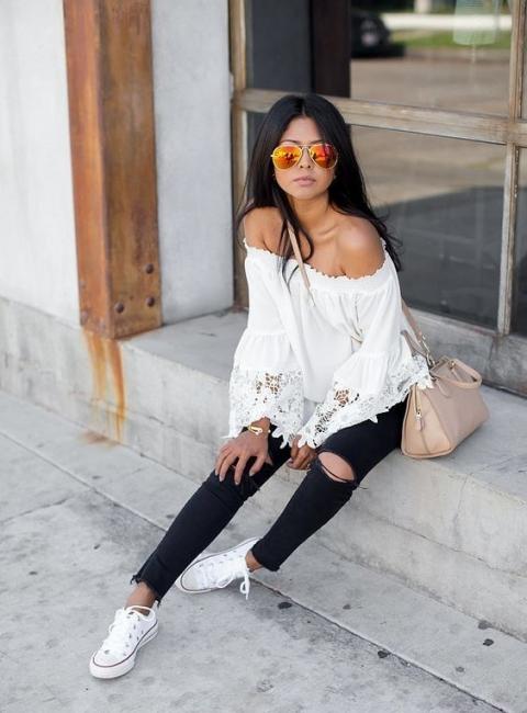 20 стайлинг идеи как да носите бели кецове