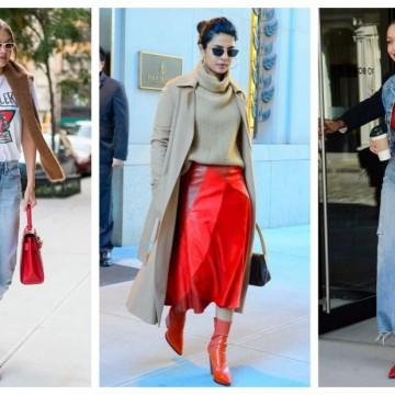 Червените боти на Джиджи и Приянка: стайлинг идеи+шопинг находки