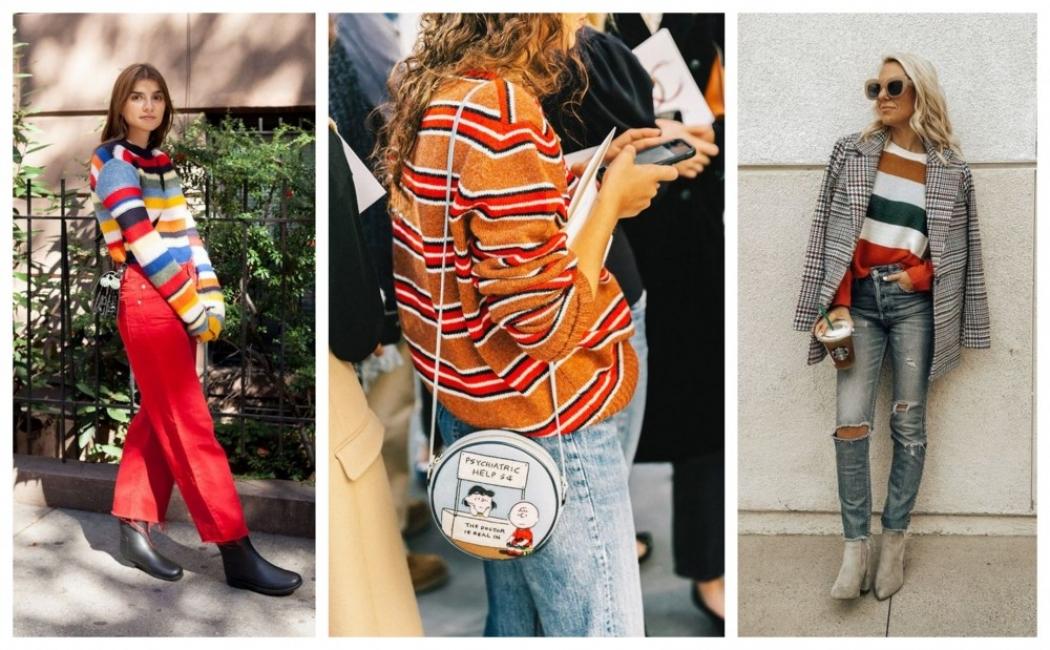 Как да носим пуловер на цветно райе: 27 стайлинг идеи
