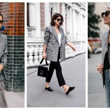 24 стайлинг идеи как да носим кариран сив блейзър