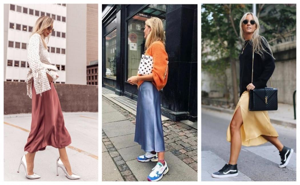 Как да носим едноцветна сатенирана пола: 23 стайлинг идеи