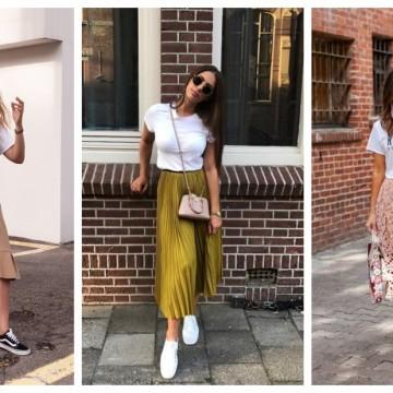 31 стайлинг идеи как да носим бял тишърт с пола