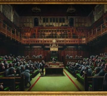 """""""Парламентът"""" на Банкси ще бъде продаден на търг малко преди Brexit"""