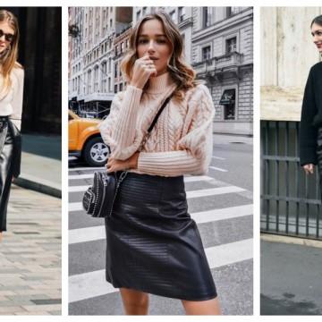 19 стайлинг идеи как да носим кожена пола с пуловер