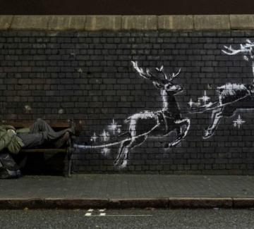 Бездомният Дядо Коледа на Банкси