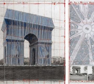 """Кристо с изложба в """"Жорж Помпиду"""" преди опаковането на Триумфалната арка"""