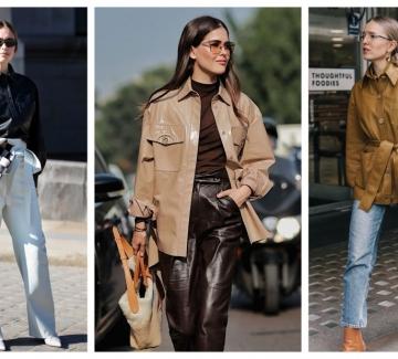 21 стайлинг идеи как да носим кожената риза