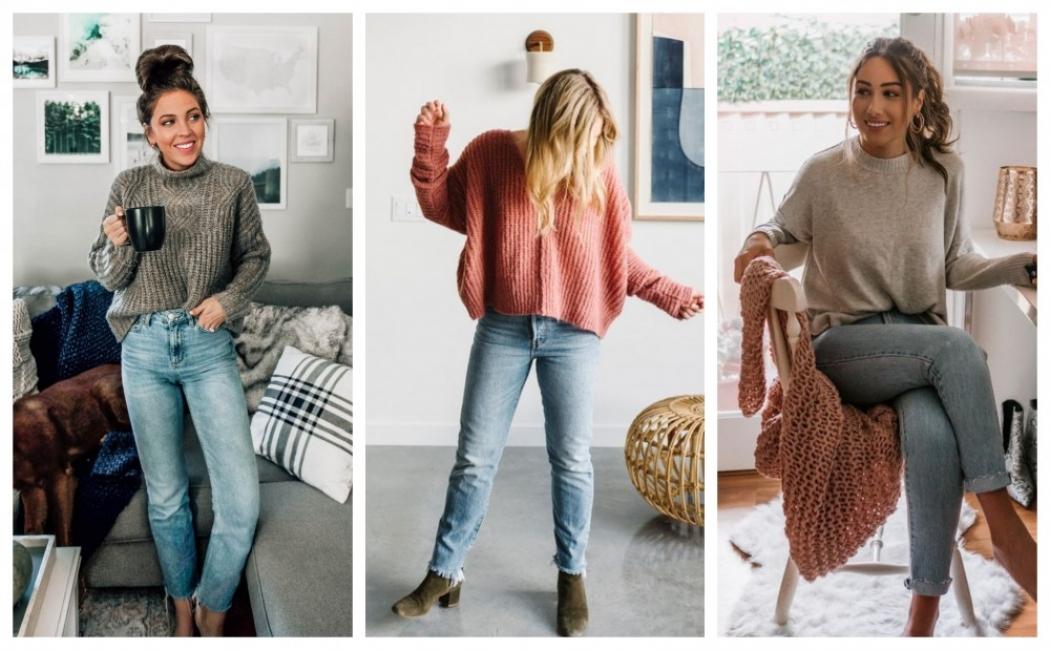 19 стайлинг идеи как да носим дънки с пуловер за работа от къщи